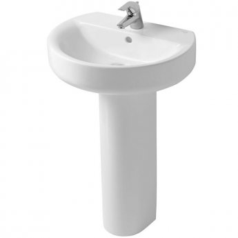 Ideal Standard Concept Sphere Basin and Full Pedestal 550mm Wide 1 Tap Hole