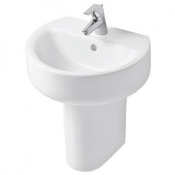 Ideal Standard Concept Sphere Basin and Semi Pedestal 550mm Wide 1 Tap Hole