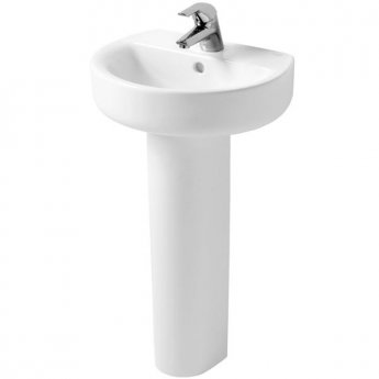 Ideal Standard Concept Sphere Basin and Full Pedestal 500mm Wide 1 Tap Hole
