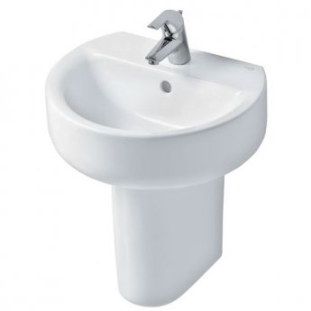 Ideal Standard Concept Sphere Basin and Semi Pedestal 500mm Wide 1 Tap Hole