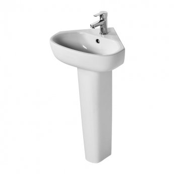 Ideal Standard Echo Corner Handrinse Basin and Full Pedestal 450mm Wide - 1 Tap Hole
