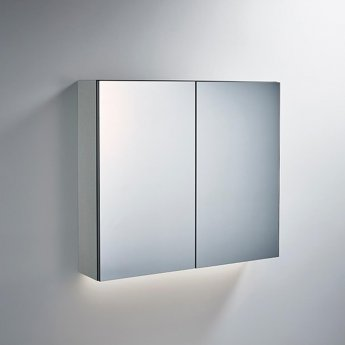 Ideal Standard 2-Door Mirror Cabinet with Bottom Ambient Light 800mm Wide - Aluminium