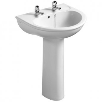 Ideal Standard Sandringham Washbasin with Full Pedestal 560mm Wide 2 Tap Hole