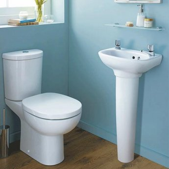 Ideal Standard Studio Cloakroom Basin and Full Pedestal 450mm Wide 2 Tap Holes