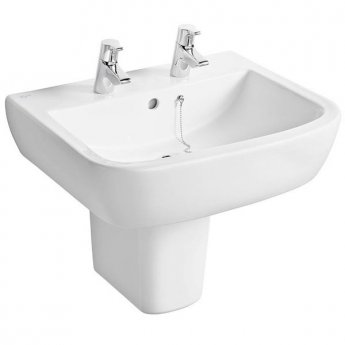 Ideal Standard Tempo Basin and Semi Pedestal 600mm Wide 2 Tap Holes