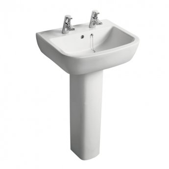 Ideal Standard Tempo Basin and Full Pedestal 550mm Wide 2 Tap Holes