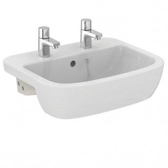 Ideal Standard Tempo Semi Countertop Washbasin 550mm Wide 2 Tap Holes
