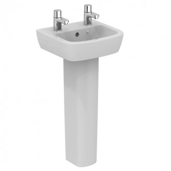 Ideal Standard Tempo Handrinse Basin and Full Pedestal 400mm Wide 2 Tap Holes