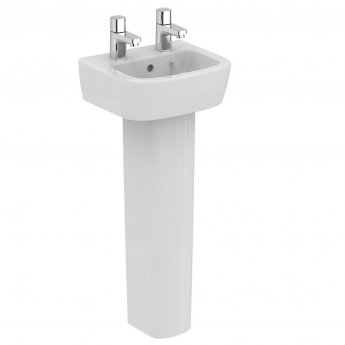 Ideal Standard Tempo Handrinse Basin and Full Pedestal 350mm Wide 2 Tap Holes