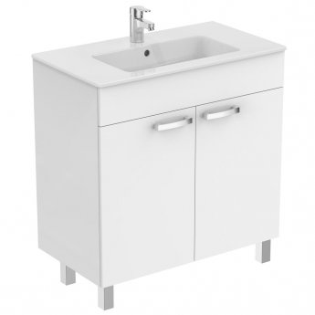 Ideal Standard Tempo 2-Door Vanity Unit with Legs 800mm Wide Gloss White