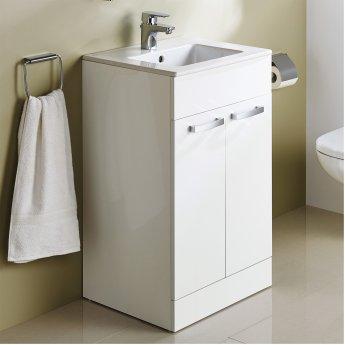 Ideal Standard Tempo Floor Standing 2-Door Vanity Unit 600mm Wide Gloss White