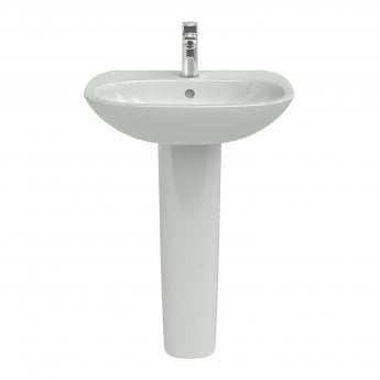 Ideal Standard Tesi Basin with Full Pedestal 500mm Wide - 1 Tap Hole