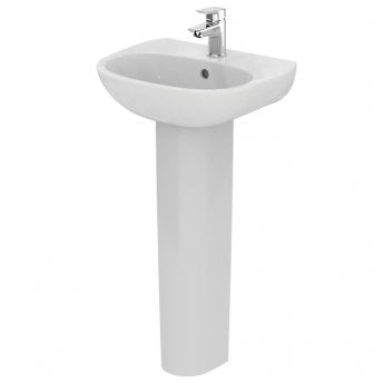 Ideal Standard Tesi Cloakroom Basin with Full Pedestal 450mm Wide - 1 Tap Hole