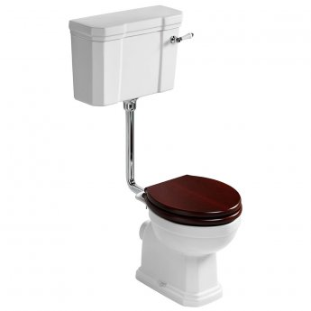 Ideal Standard Waverley Low Level Toilet with Cistern - Standard Mahogany Seat