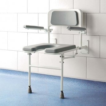 Impey Deluxe Fold-Down Horseshoe Padded Shower Seat with Back & Arms