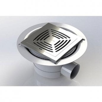Impey TILED FLOOR Horizontal Outlet Gravity Shower Waste Trap with Stainless Steel Grate