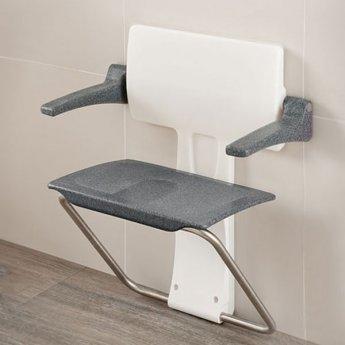 Impey Slimfold Shower Seat, Black Granite