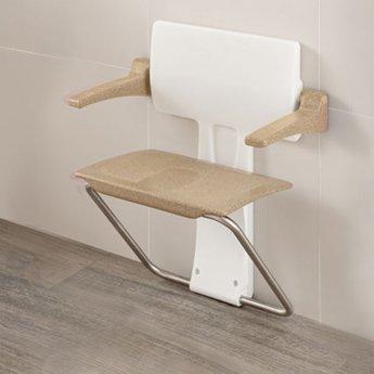 Impey Slimfold Shower Seat, Sandstone