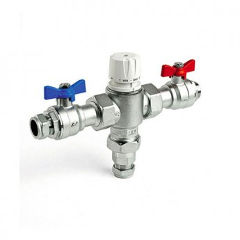 Intamix 28mm Thermostatic Mixing Valve with Isolation Unions and Valves, Chrome