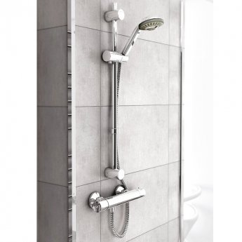 Inta Coolflow Complete Thermostatic Bar Shower & Flexible Riser - Chrome