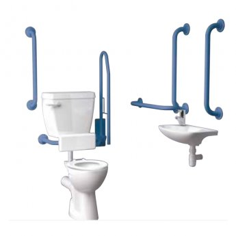Inta Standard Doc M Pack with 6L Low Level Disabled Toilet with Thermostatic Tap - Blue