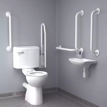 Inta Standard Doc M Pack with 6L Close Coupled Disabled Toilet with Thermostatic Tap - White