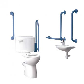 Inta Standard Doc M Pack with 6L Close Coupled Disabled Toilet with Thermostatic Tap - Blue