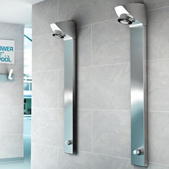 Inta I-Sport Shower Panel with Push Button Timed Flow Control and Shower Head Back Inlet, Chrome