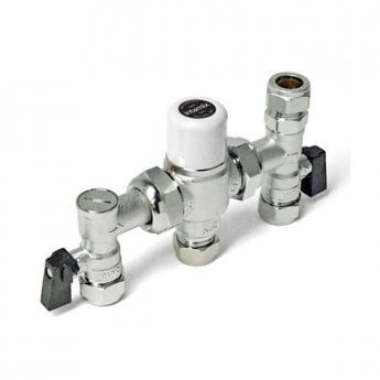 Intamix Thermostatic Mixing Valve 22mm with Service Valves and Compression Top Connector