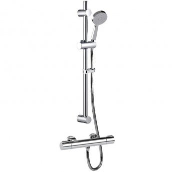 Inta Puro Thermostatic Bar Shower with Slide Rail Kit and Eco Air Handset, Chrome