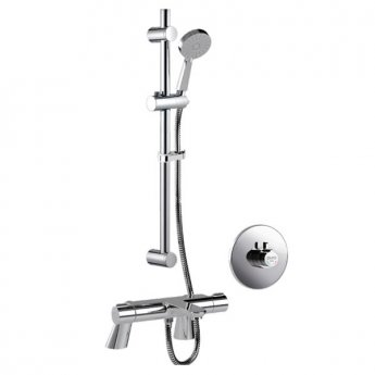 Inta Puro Safe Touch Thermostatic Bath Shower Mixer C/W Flexi Slide Rail Kit, Chrome