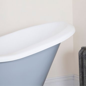 Hurlingham Banburgh Small Cast Iron Roll Top Slipper Bath including White Feet - 2 Tap Hole