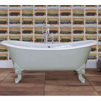 Hurlingham Belvoir Cast Iron Roll Top Slipper Bath including White Feet - 0 Tap Hole