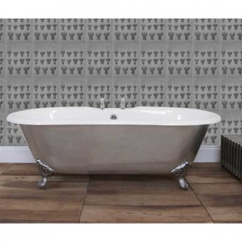 Hurlingham Bisley Cast Iron Roll Top Bath including Chrome Feet - 2 Tap Hole