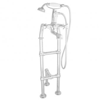 Hurlingham Freestanding Large Mixer Taps 1040mm H with Pipe and Leg Support - Chrome