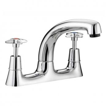 JTP Astra Kitchen Sink Mixer Tap, Deck Mounted, Crosshead Handle, Chrome