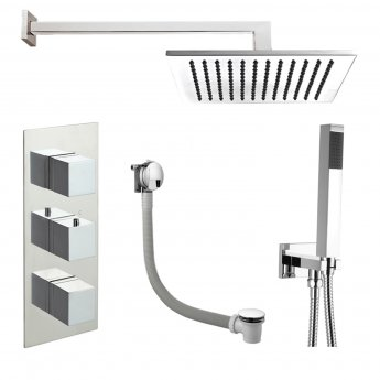 JTP Athena Triple Concealed Mixer Shower with Shower Handset + Bath Filler + Fixed Head