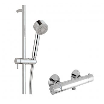 JTP Cool Thermostatic Shower Valve with Shower Rail Kit - Chrome