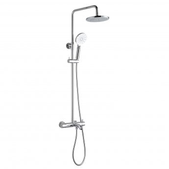 JTP Florence Thermostatic Shower Pole with Overhead Shower and Hand Shower + Bath Spout