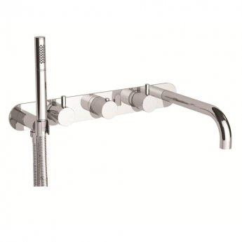 JTP Florentine 5-Hole Bath Shower Mixer Tap Wall Mounted - Chrome