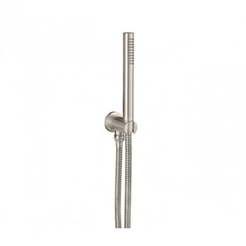 JTP Inox Round Water Outlet with Holder Metal Hose and Slim Handshower - Stainless Steel
