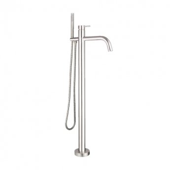 JTP Inox Freestanding Bath Shower Mixer Tap with Kit - Stainless Steel