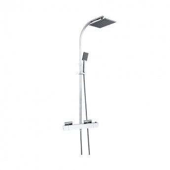 JTP Kubix Thermostatic Shower Mixer with Rigid Riser and Fixed Head - Chrome