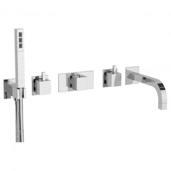 JTP Kubix 5-Hole Bath Shower Mixer Tap Wall Mounted - Chrome