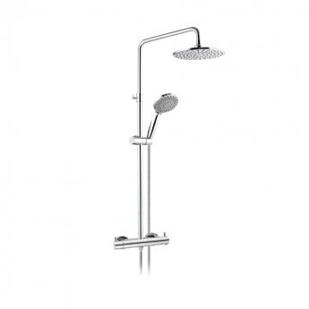 JTP Round Thermostatic Shower Mixer with Rigid Riser and Fixed Head - Chrome