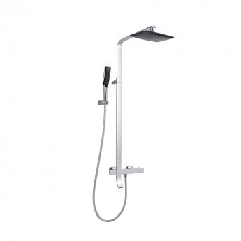 JTP Square Thermostatic Shower Pole with Overhead Shower and Hand Shower + Bath Spout