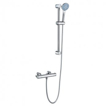 JTP Torre Shower Valve with Shower Rail Kit and Front Fixing Brackets - Chrome