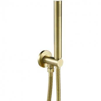 JTP Vos Round Water Outlet with Holder Metal Hose and Slim Handshower - Brushed Brass