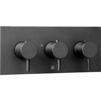 JTP Vos Horizontal Thermostatic Concealed 2 Outlets Shower Valve - Matt Black