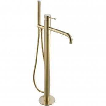JTP Vos Freestanding Bath Shower Mixer Tap with Kit - Brushed Brass